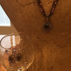 Tiger's Eye & Beaded Necklace & Earrings
